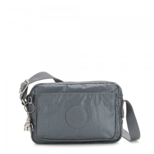 Kipling ABANU Mini Crossbody Bag with Adjustable Shoulder Strap Steel Grey Metallic