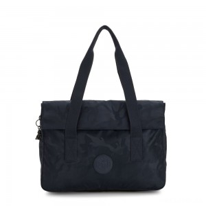 Kipling PERLANI Large Laptop Bag with Trolly Sleeve Satin Camo Blue