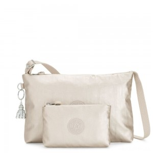 Kipling ATLEZ DUO Small Crossbody with Matching Pouch Cloud Metal Gifting