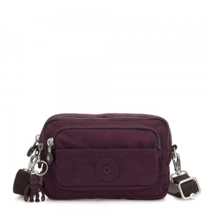 Kipling MULTIPLE Waist Bag Convertible to Shoulder Bag Dark Plum