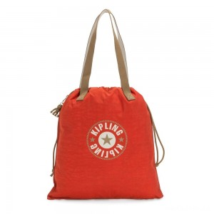Kipling NEW HIPHURRAY Small Foldable Tote with drawstring Funky Orange Block