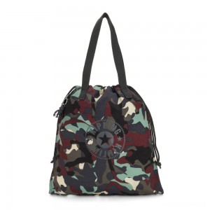 Kipling NEW HIPHURRAY Small Foldable Tote with drawstring Camo Large