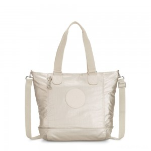 Kipling SHOPPER C Large Shoulder Bag With Removable Shoulder Strap Cloud Metal