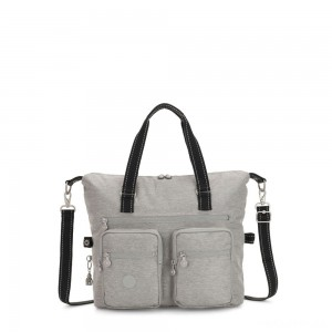 Kipling NEW ERASTO Large Tote with Front Pockets Chalk Grey
