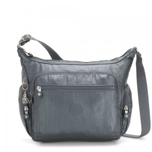 Kipling GABBIE Medium Shoulder Bag Steel Grey Metallic