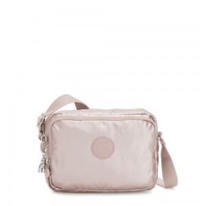 Kipling SILEN Small Across Body Shoulder Bag Metallic Rose