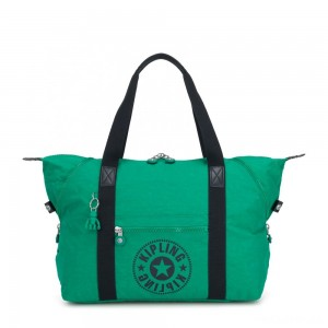 Kipling ART M Medium Tote Bag with 2 Front Pockets Lively Green