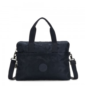Kipling ELSIL Laptop Bag with Adjustable Strap Satin Camo Blue