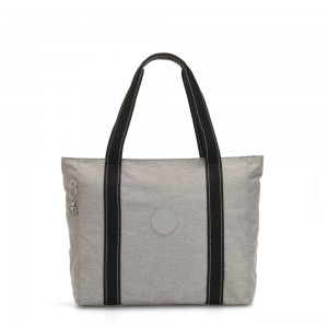 Kipling ASSENI Large Tote Bag with Internal Compartments Chalk Grey