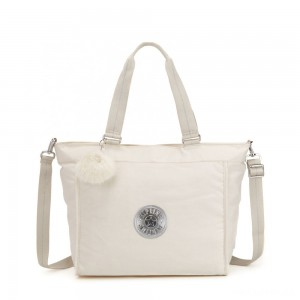 Kipling NEW SHOPPER L Large Shoulder Bag With Removable Shoulder Strap Dazz White