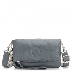 Kipling LYNNE Small crossbody Convertible to Bum Bag Steel Grey Metallic