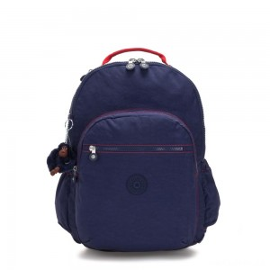 Kipling SEOUL GO XL Extra large backpack with laptop protection Polished Blue C