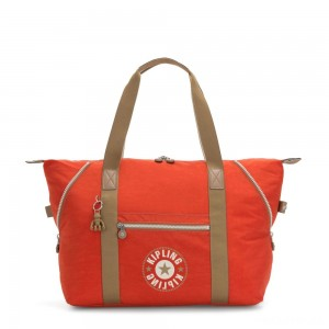 Kipling ART M Travel Tote With Trolley Sleeve Funky Orange Block