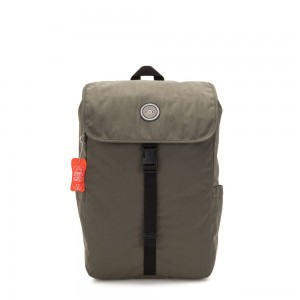 Kipling WINTON Large backpack with pushbuckle fastening and laptop protection Cool Moss