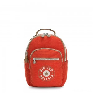 Kipling SEOUL S Small Backpack with Tablet Compartment Funky Orange Block