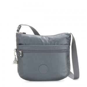 Kipling ARTO Shoulder Bag Across Body Steel Grey Metallic