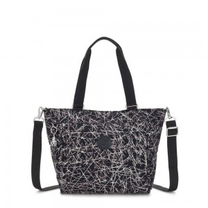 Kipling NEW SHOPPER S Small Shoulder Bag With Removable Shoulder Strap Navy Stick Print